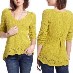 Anthropologie Yellow Bird Peaked Pointelle Sweater